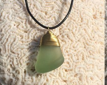 Gorgeous green gumdrop fully frosted sea glass necklace with copper wire design and black leather strap with slip knots for adjustment -    #seaglass #pendant #necklace #aqua #bridal #beach #caribbean #beachware