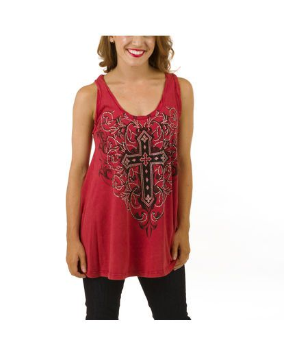 Sleeveless R-Neck Top with Cross Print