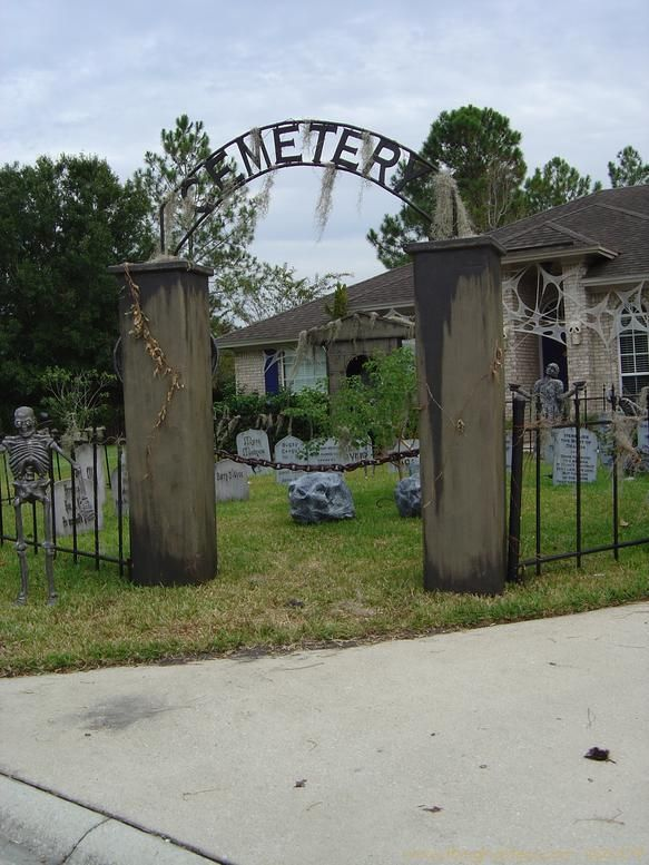 make lightweight columns and arches for larp scenery these have many uses other than just a cemetery entranceway cemetery columns and arch for the fence - Cemetery Halloween Decorations