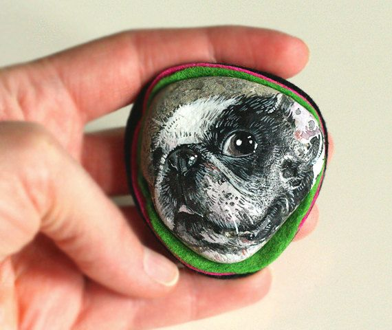Stone brooch with hand-painted fat french bulldog by SkadiaArt