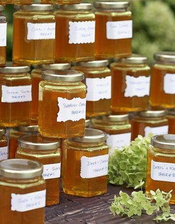 Cute idea: Use honey jars as table assignments.