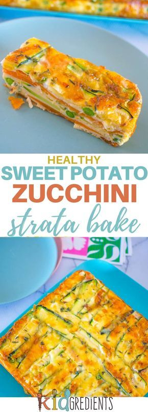 Perfect for breakfast and great in the lunchbox, this sweet potato and zucchini healthy strata bake is jam packed full of veggies. Kid and freezer friendly. Great way to start the day with extra veggies! #kidsfood #breakfast #familyfood #vegetarian #veggies #bake