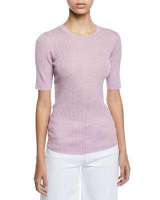 c7dfebb7f1b6 FRAME Designer Short-Sleeve Ribbed Crewneck Sweater