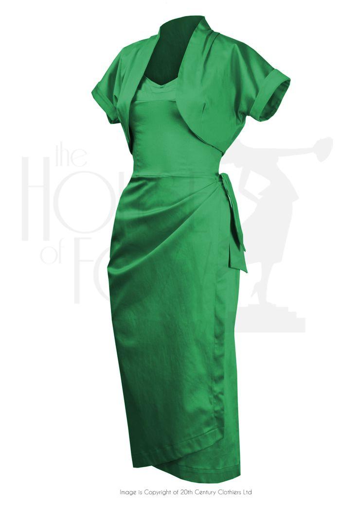50s Femme Fatale Wiggle Dress Set Emerald