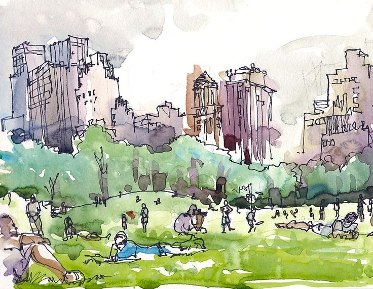 New York, Central Park watercolor sketch, Sheep Meadow a watercolor sketch in grey and green - 8x10 art print. $20.00, via Etsy.