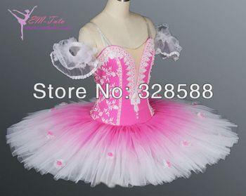 gradual changing pink color ballet profesional tutu,flowers stitched onto tutu skirt EM-A1081