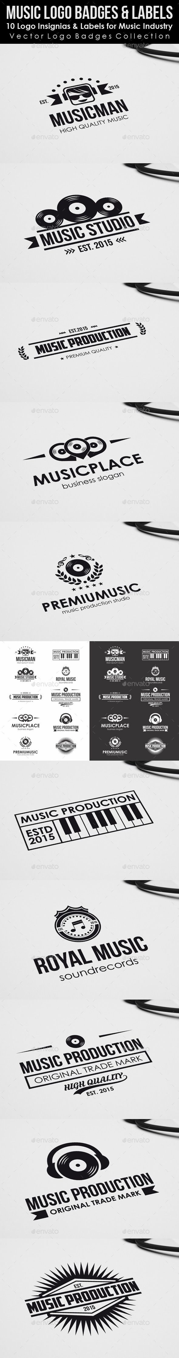10 Logo Insignias & Labels for Music Industry. An excellent clean and professional logo / badges insignia highly suitable for music, audio engineering, recording studio, entertainment, sound technology or any other business related. You can use this logo badges for music app, music program, music producers, headphone products or many other music related business.