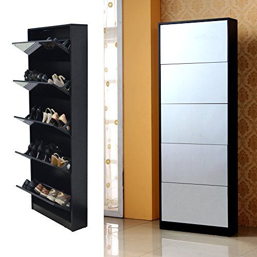 Organizedlife Black Mirror Shoe Cabinet Living Room Shoe Rack with 5 Drawers - Buy Online in KSA. Kitchen products in Saudi Arabia. See Prices, Reviews and Free Delivery in Riyadh, Khobar, Jeddah, Dhahran, Dammam - Desertcart Saudi Arabia