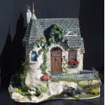 """1"""" scale Stone Cottage with Tower & Pond by CDHM Artisan Tracy Topps of Minis On The Edge , www.cdhm.org/user/minisontheedge    dollhouse miniature"""