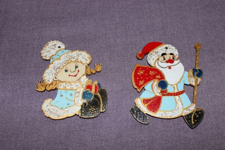новогодние елочные игрушки дед мороз и снегурочка, ручная роспись