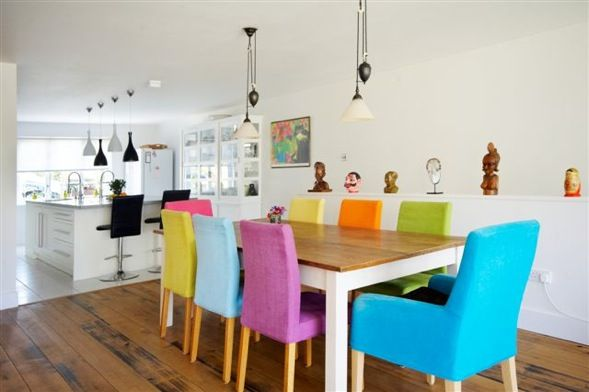 25 Trendy Bright And Colorful Dining Area Colored Dining Chairs Colorful Dining Room Chairs Dining Room Colors