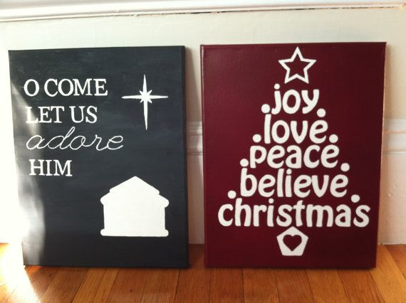2 Christmas Quotes - O Come Let Us Adore Him, Joy Love Peace Believe Christmas by TheWrightBoutique, $40.00