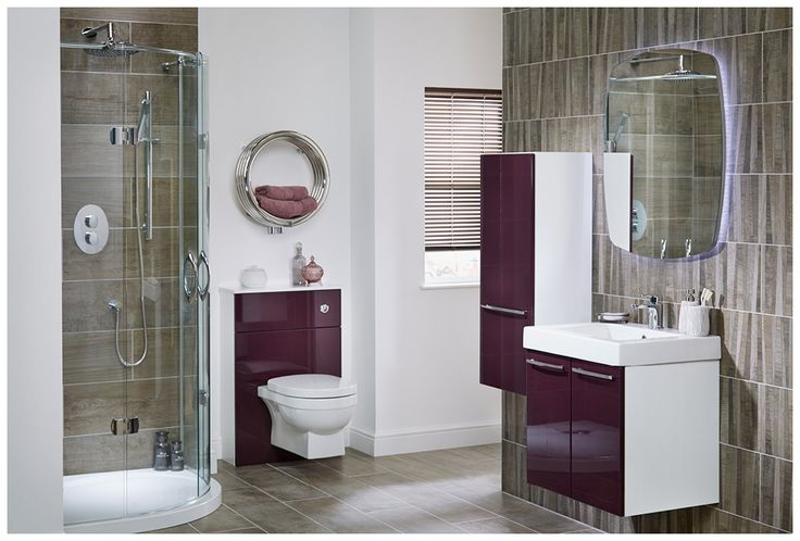 Aubergine gloss adds dramatic colour to this spacious shower room #youmodular #bathroomfurniture #myutopia