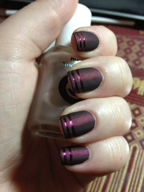 First Post! Playing with striping tape and Matte About You (Base color Zoya Jem)