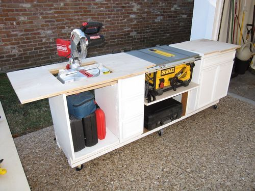 Miter saw stand plans free woodworking projects plans for Table saw table plans