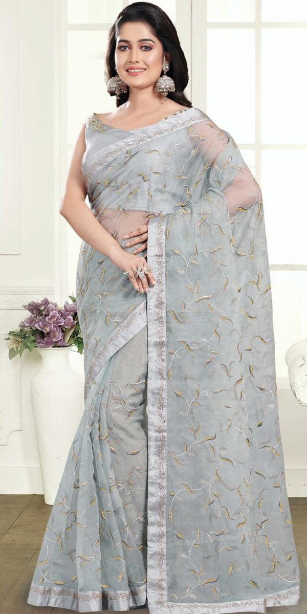 Pretty Grey Organza Net Embroidery Saree Buy Saree Online