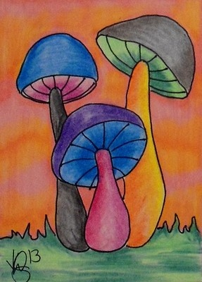 "Aceo Original ""MAGIC MUSHROOMS"""