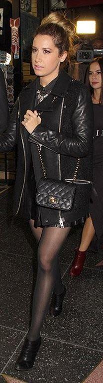 Ashley Tisdale: Coat – AllSaints  Purse – Chanel  Shoes – Christian Louboutin
