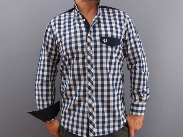 Fred Perry Button Down Shirts for Men NAVY & WHITE