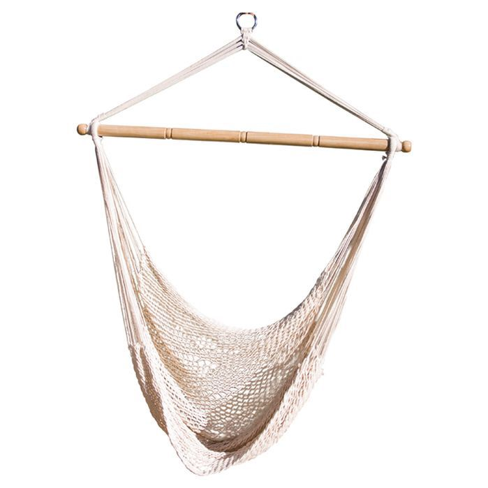 Features:  -Hammock hanging net chair.  -Comfortable.  Product Type: -Chair hammock.  Hammock Material: -Cotton.  Hammock Color: -White.  Pattern: -Solid.  Rope Construction: -Yes.  Ultra Light: -Yes.
