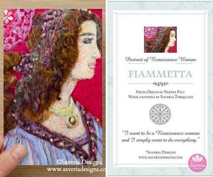 Fiammetta Renaissance Needle Felt Print Card with Inspirational Quote Insert by Saveria Designs