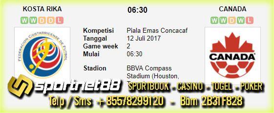Prediksi Skor Bola Kosta Rika vs Canada 12 Jul 2017 Piala Emas Concacaf di BBVA Compass Stadium (Houston, Texas) pada hari Rabu jam 06:30 live di Fox Sports 1