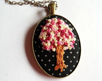Embroidered fabric Flower Necklace Hand by RedWorkStitches on Etsy