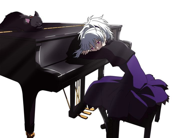 piano Darker Than Black Yin simple background white background Mao (Darker Than Black) wallpaper background