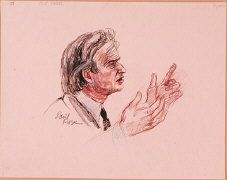 """Courtroom sketch by artist David Rose of Nobel laureate and Holocaust survivor Elie Wiesel on the witness stand at the trial of Klaus Barbie. During his testimony, Wiesel stated that """"The killer kills twice. First, by killing, and then by trying to wipe out the traces."""" June 2, 1987.  — USHMM Collection, Gift of David Rose"""