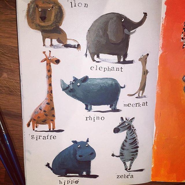 Animals close up #drawing #illustration #art #рисунок #иллюстрация #денькрокодила #африка #africa