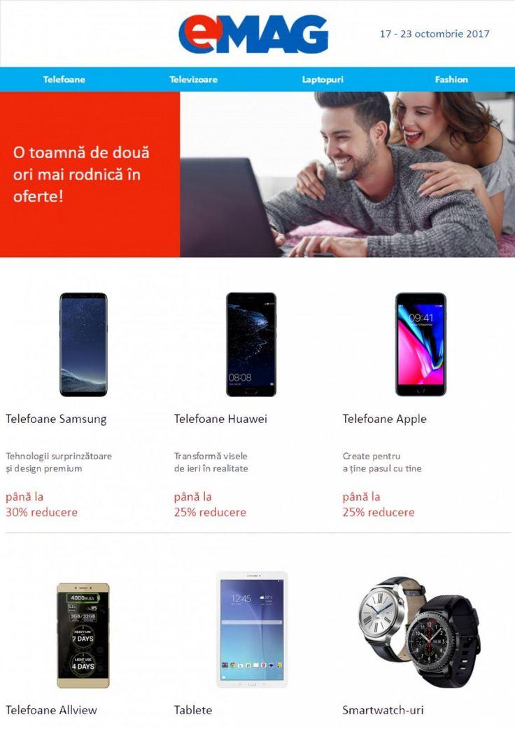 Catalog eMAG Blue Week 23 - 30 Octombrie 2017! Oferte: reduceri de pana la 30% la telefoane Samsung / de pana la 25% la telefoanele Huawei si Apple