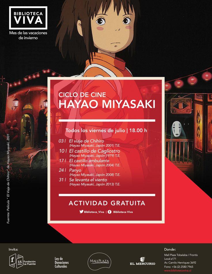 Viernes | 18.00 h CICLO DE CINE: HAYAO MIYASAKI 3| El viaje de Chihiro (Hayao Miyasaki, Japón, 2001) T.E. 10|El castillo de Cagliostro (Hayao Miyasaki, Japón, 1979) T.E. 17|El castillo ambulante (Hayao Miyasaki, Japón, 2004) T.E. 24|Ponyo (Hayao Miyasaki, Japón, 2008) T.E. 31|Se levanta el viento (Hayao Miyasaki, Japón, 2013) T.E.