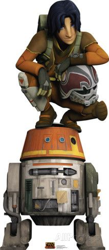 Star Wars Rebels - Ezra Bridger: Un muchacho huérfano que nació y creció en el planeta Lothal, situado en los territorios del Borde Exterior, subyugados por el Imperio Galáctico. El muchacho mientras estaba en Lothal desconoce completamente que ocurrió realmente con sus padres, es un estafador, pícaro ladrón y un muchacho sensible a la Fuerza que vivía solo en el planeta, hasta que se unió en la tripulación del Ghost, desde entonces es el padawan de Kanan