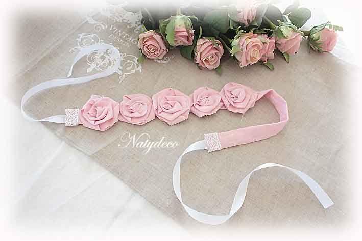 Embrasse de fleurs couleur rose en lin  NATYDECO vente sur  http://www.natydecocorse.com/