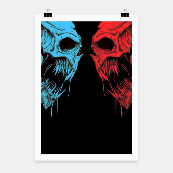 Two blue and red skulls Poster, Live Heroes