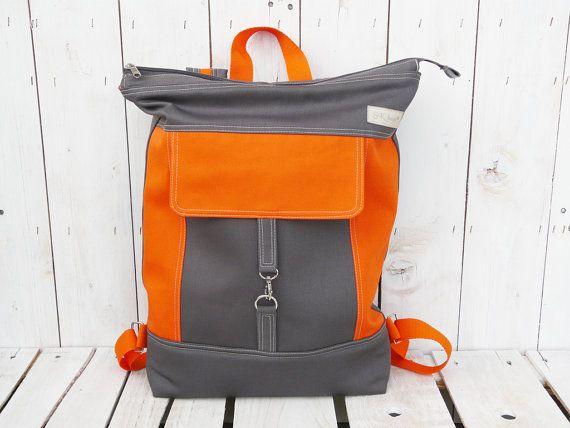 Canvas Backpack, Unisex rucksack, Grey Orange Laptop bag, Zippered large backpack