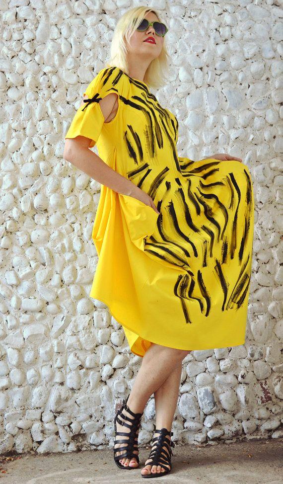 Yellow Funky Dress / Extravagant Summer Dress / Asymmetrical Funky Dress with Handmade Painted Design TDK193