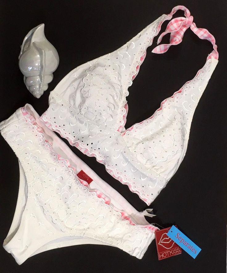 Hot Kiss Women Bikini Large White Pink Ruffle Halter 2pc Swimsuit Eye Hole Lace  #HotKiss #Bikini