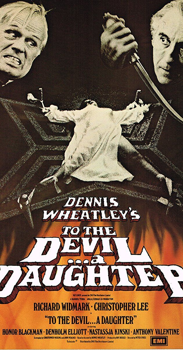 Directed by Peter Sykes.  With Richard Widmark, Christopher Lee, Honor Blackman, Denholm Elliott. An American occult novelist battles to save the soul of a young girl from a group of Satanists, led by an excommunicated priest, who plan on using her as the representative of the Devil on Earth.