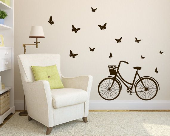 Art Wall Decal Bicycle Wall Vinyl Decal Sticker by Zapoart on Etsy, $34.00