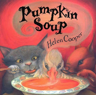 "Pumpkin Soup by Helen Cooper -  ""Deep in the woods in an old white cabin, three friends make their pumpkin soup the same way every day. The Cat slices up the pumpkin, the Squirrel stirs in the water, and the Duck tips in just enough salt.""   This is a great story about friendship and working through squabbles.  The illustrations are warm and inviting...and there is even a recipe for pumpkin soup at the end.   I suggest reading this book and inviting the kids to help you in the kitchen…"