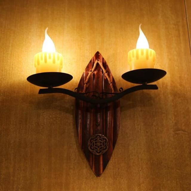 Vintage Retro Southeast Country Bamboo Iron Resin Led E14*2 Candle Wall Lamp For Coffee Bar Aisle Living Room Restaurant 1123