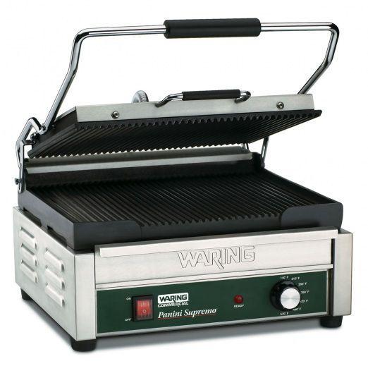 Grill panini professionnel Waring Commercial 488,57€ Thermostat jusqu'à 2520 Watts poids 30 Kg épaisseur de viande 7,5 cm 406 xP 4444x H241 Surface de cuisson 370x280