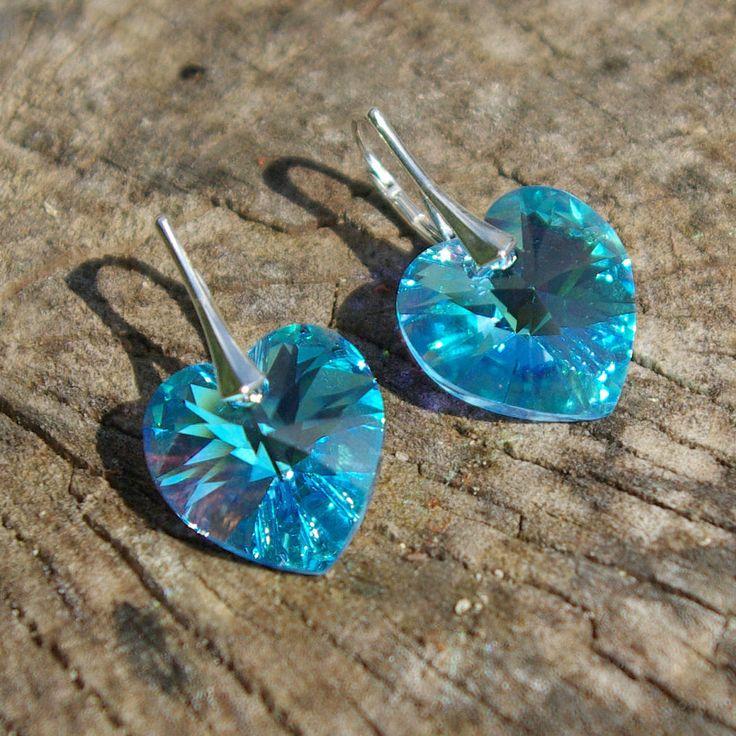Swarovski Heart Earrings, Blue Swarovski Earrings, Swarovski Aquamarine Earrings Wedding Earrings Bridesmaid Earrings Swarovski AB Earrings by AuroraCrystalPassion on Etsy