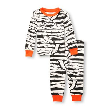 Unisex Baby Long Sleeve Glow-In-The-Dark Mummy Top And Pants PJ Set