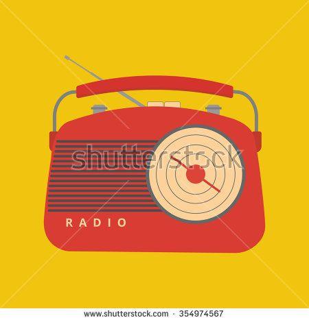 Retro Radio Icons - Hand Radio - stock vector