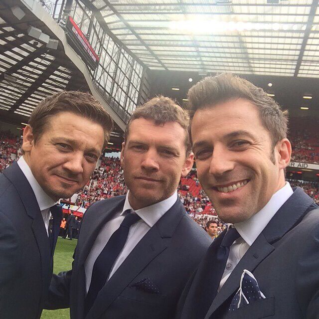 Jeremy Renner, Sam Worthington and Alessandro Del Piero. @socceraid   Cr.pennyroyalorange.tumblr.com