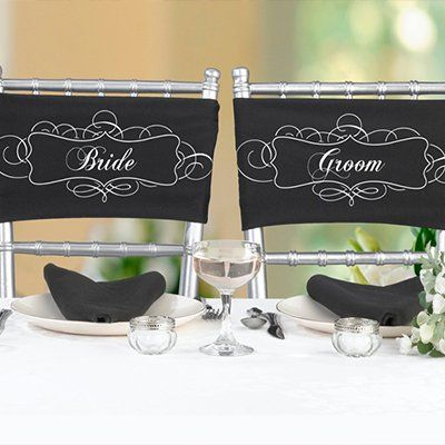 Wedding Party Chair Sashes, Bride and Groom Chair Sashes
