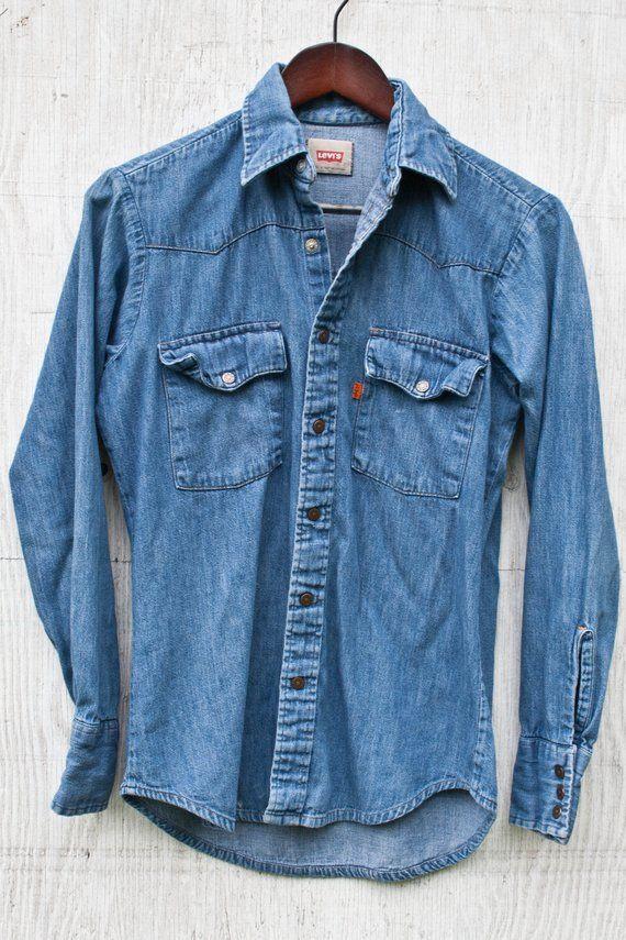 90s Levis Denim Shirt 80s Levis Jean Shirt Small Blue Etsy Mens Jeans Denim Shirt Men Denim Shirt