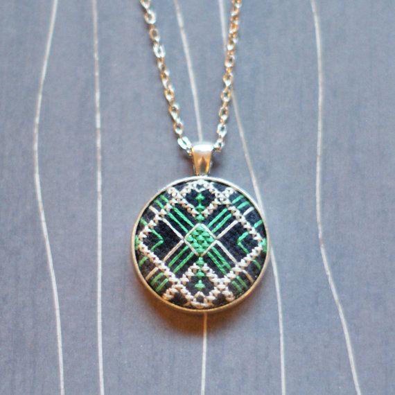 Gatsby Cross stitch pendant necklace by TheWerkShoppe on Etsy, $34.00